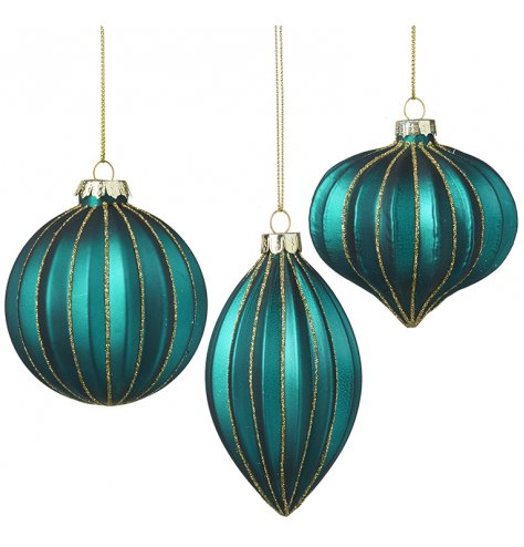 Beautiful jewel coloured baubles with a deep ridge and single gold trim.