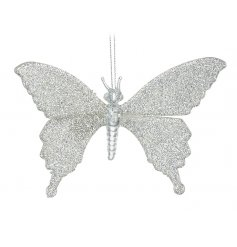 A glittery glass butterfly decoration, perfect for introducing to any themed tree display at Christmas