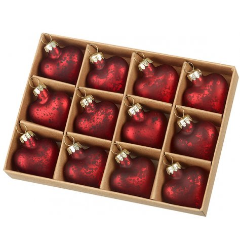 Vintage inspired glass hearts, each with a mottled finish. Complete with a kraft display box.