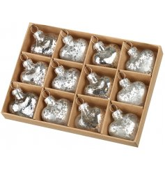 Set with a luxe silver mottled tone, a set of 12 glass heart baubles