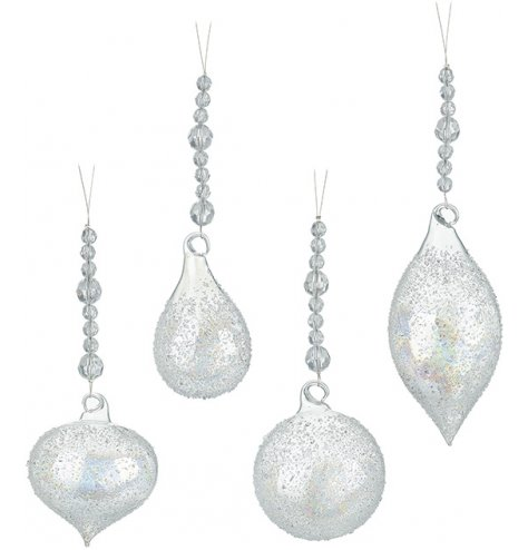 Shimmering glass baubles in an assortment of shapes, each has a textured finish and iridescent glow.