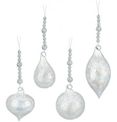 A beautiful mix of assorted sized droplet baubles, each decorated with an added speckled decal and beaded hanging charm