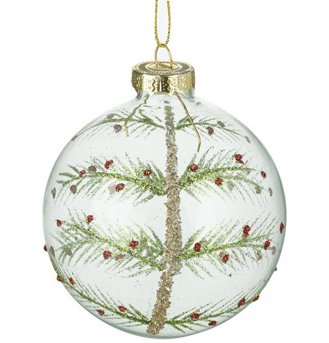 A glass bauble decorated with a traditional red and green glitter Christmas tree. Complete with gold detailing