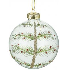 this clear glass bauble is perfect for any simplistic themed display at Christmas