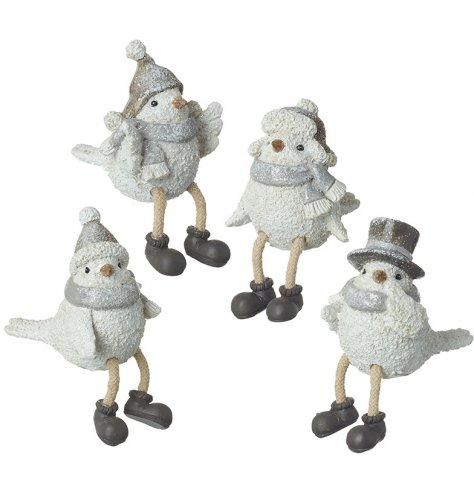 Charming sitting birds with assorted festive hats. Complete with dangling legs and a sprinkling of glitter.