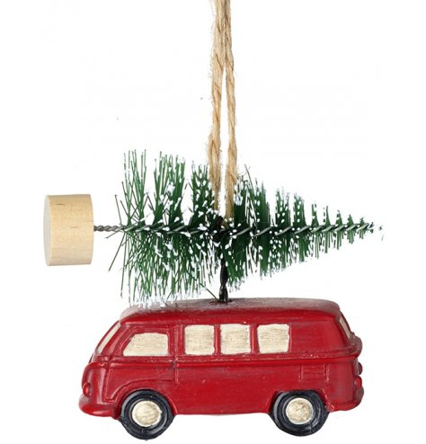 A vintage inspired red camper van hanging decoration with a miniature Christmas tree. Complete with jute string hanger.