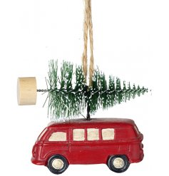 A hanging Red Van with a Tree On Top