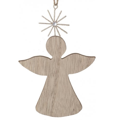 A chic and contemporary natural wooden angel decoration with a sparkling glitter star. Complete with jute string hanger.