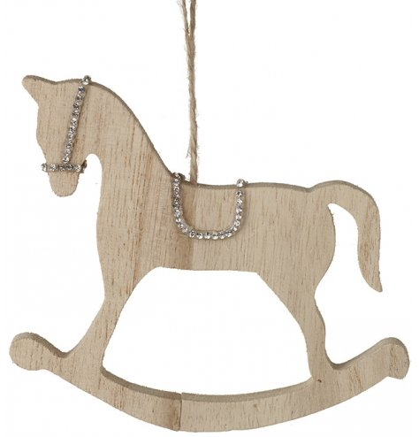 A glamorous wooden rocking horse with sparkling silver detailing. Complete with jute string hanger.