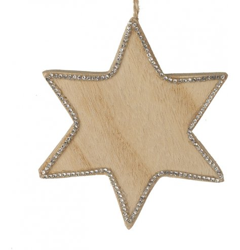 A natural wooden star shaped hanging decoration, decorated with an elegant silver edging.