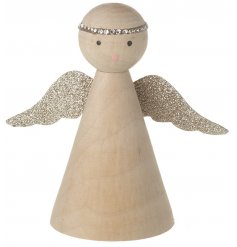Sure to add a sparkly touch to any Natural Collection, this wooden angel decoration features a glittery wing touch