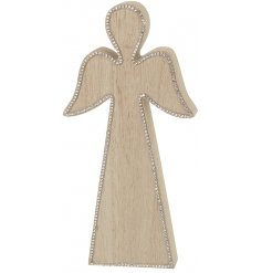 A simple natural wooden Angel decoration with an added bejewelled glitter edging