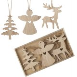 Natural wooden Christmas hangers in tree, angel and reindeer designs. Each has a miniature heart feature.