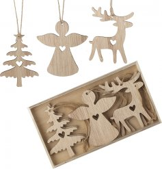 A set of assorted shaped wooden hanging decorations, sure to tie in with any coloured theme at Christmas time
