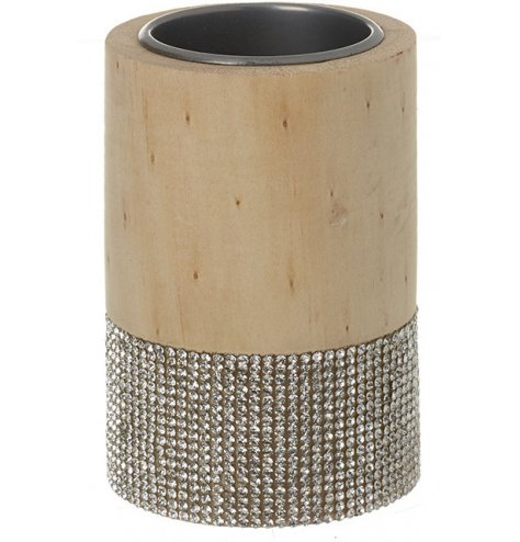 A chic and contemporary wooden t-light holder with a sparkling diamante band. A glamorous, seasonal must have.