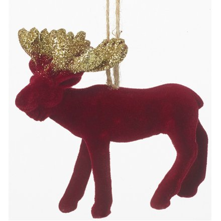 Red Velvet Hanging Moose, 9cm