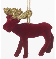 A hanging red velvet moose tree decoration with added glittery antlers