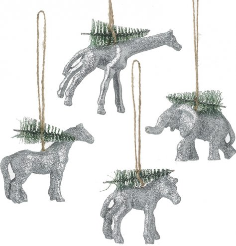 An assortment of 4 sparkling glitter animals, each with a miniature green bristle Christmas tree and jute string hanger.