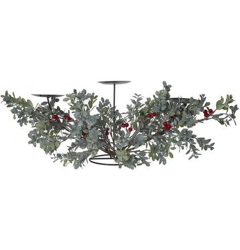 A beautiful Christmas centrepiece with three large candle holders, ideal for pillar candles.