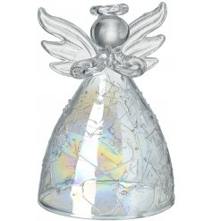 A small glass angel hanging decoration with an iridescent coating and spun glass decal