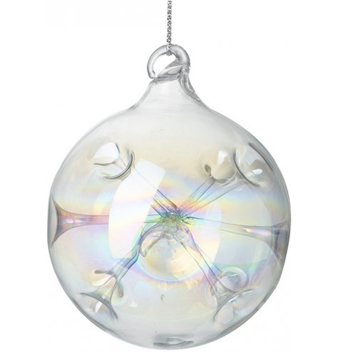 An elegant glass bauble with inner tubing and a subtle iridescent shimmer.
