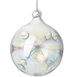 A clear glass bauble featuring an iridescent effect and added inner tunnel decal