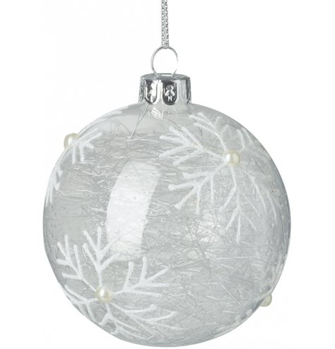A stunning spun glass bauble decorated with glitter snowflakes. Complete with a pearl decoration.