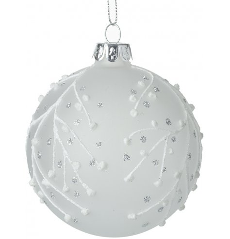 A beautiful frosted glass bauble decorated with a white and silver glitter berry branch design.