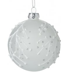 A gorgeous white frosted glass bauble featuring a sparkling silver and white droplet decal