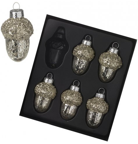 A set of 6 vintage inspired glass acorn hangers, each with a mottled finish and crushed glass beads.