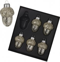 A gorgeous set of glass acorns set with glittery accents and a mottled gold decal