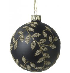 A gorgeous black glass bauble decorated with a luxe golden beaded leaf design
