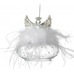 this beautiful glass angel ornament will hang perfectly in any tree