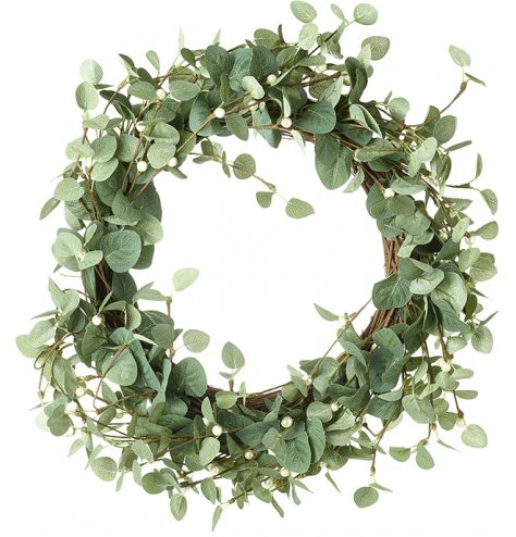 A natural full leaf and white berry wreath.