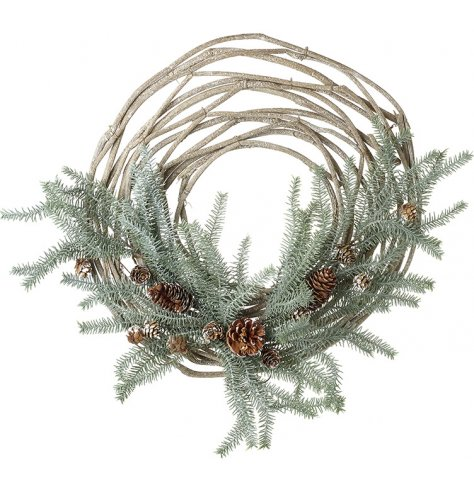 An on trend natural woven half wreath with artificial foliage and pinecones.