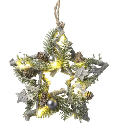 A rustic twig wreath with LED lights, assorted silver baubles, pinecones and rustic bark stars.