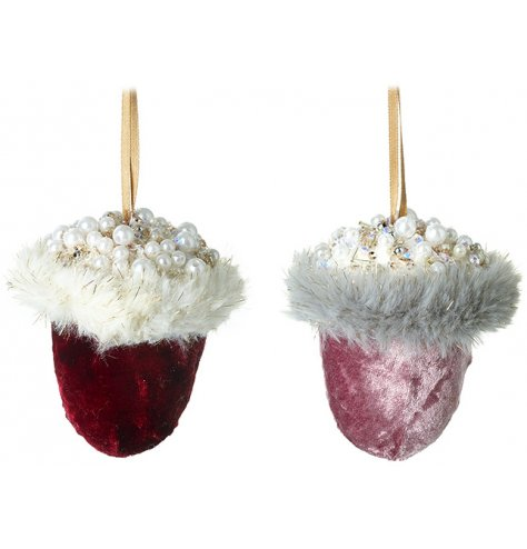 Luxury velvet acorns in rich red and pink hues. Complete with faux fur and an abundance of pearls and beads.