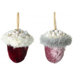 a mix of Royal Red and Blush Pink Velvet toned hanging acorns with added glittery accents