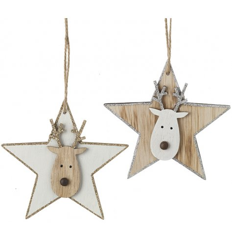 Sparkling gold and silver stars, each featuring a cute reindeer decoration complete with beaded wooden nose.