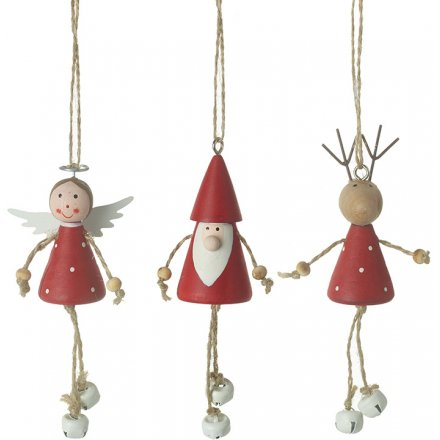 Festive Red Christmas Characters With Bells, 10cm
