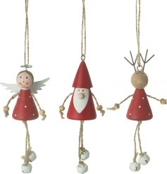 Complete with hanging jingling feet, a mix of wooden Christmas Characters in a festive red colouring