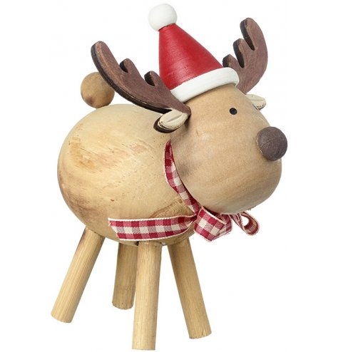 A cute wooden reindeer ornament with a rustic finish. Complete with a red Santa hat and fabric gingham scarf.