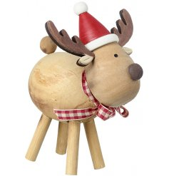 A small wooden reindeer in a smooth natural tone, decorated with a festive hat and checkered bow