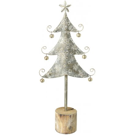 Whitewashed Metal Tree With Snowflake Decal, 37cm