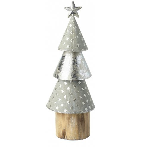 A rough luxe silver and grey layered cone tree with chunky wooden base. Complete with star topper.