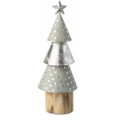 A Cone Christmas Tree set atop a wooden base and decorated with a distressed silver toning