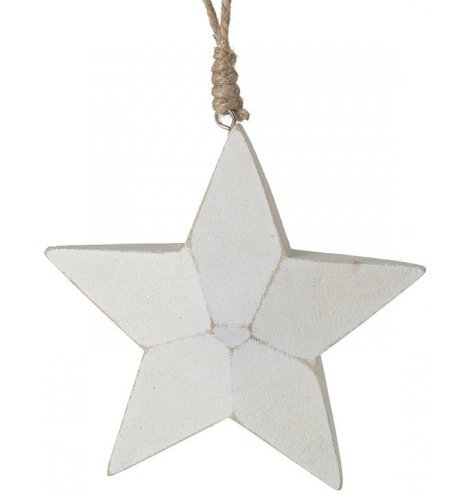 A chunky white wooden star with a distressed finish and rope hanger.