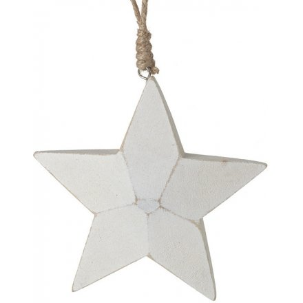 Carved White Hanging Star, 13cm