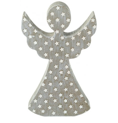 A rough luxe silver and grey angel ornament with miniature stars. Complete with a distressed, washed finish.