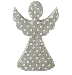 A natural wooden standing angel decoration set with a whitewashed tone and added star design
